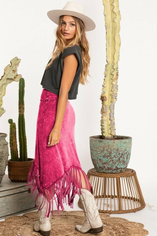 Talor Fringe Skirt-Pink