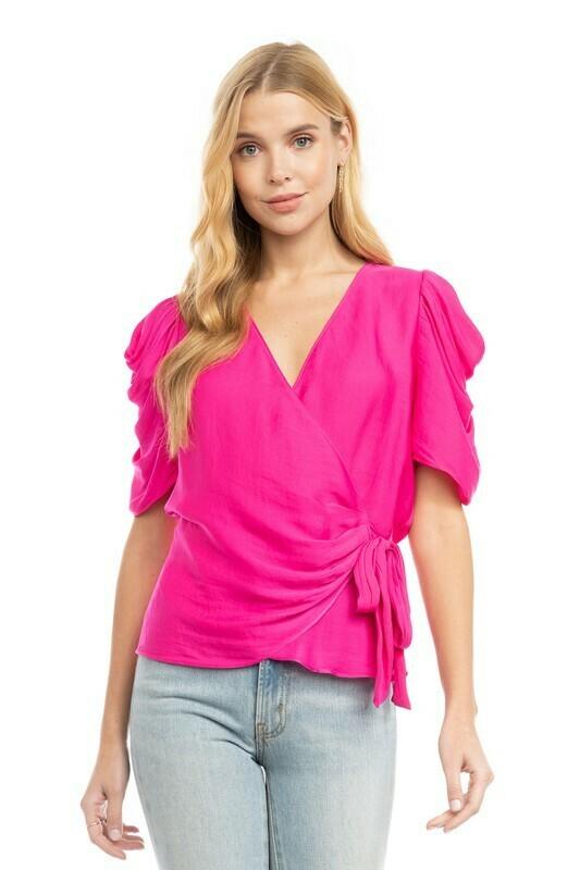 Silky Wrap Blouse-Pink