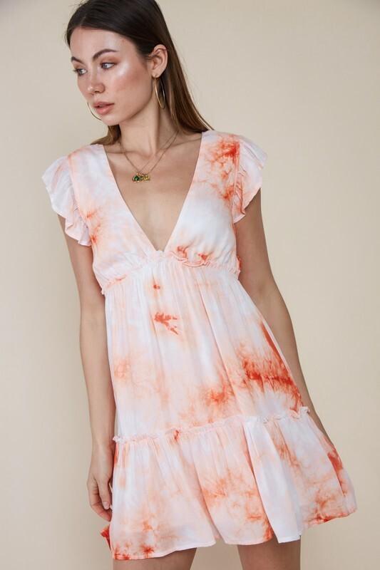 Tie Dye Baby Dress-Orange