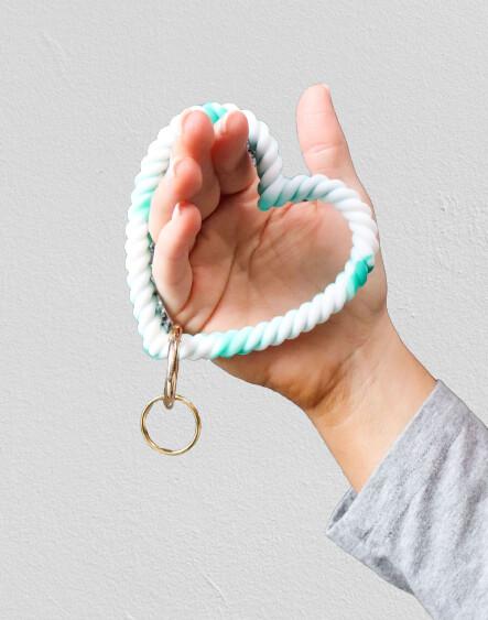 Heart Silicone Keychain-Grn