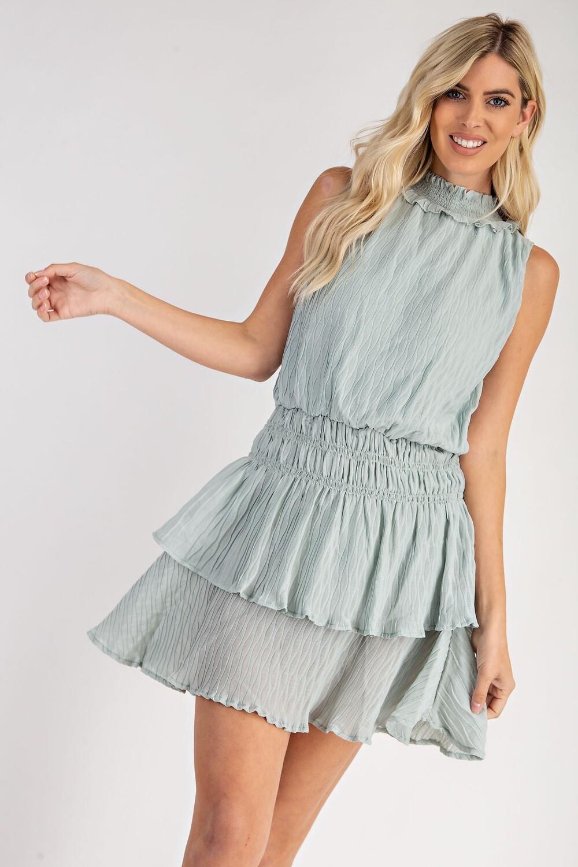Heidi Hi Neck Dress-mint