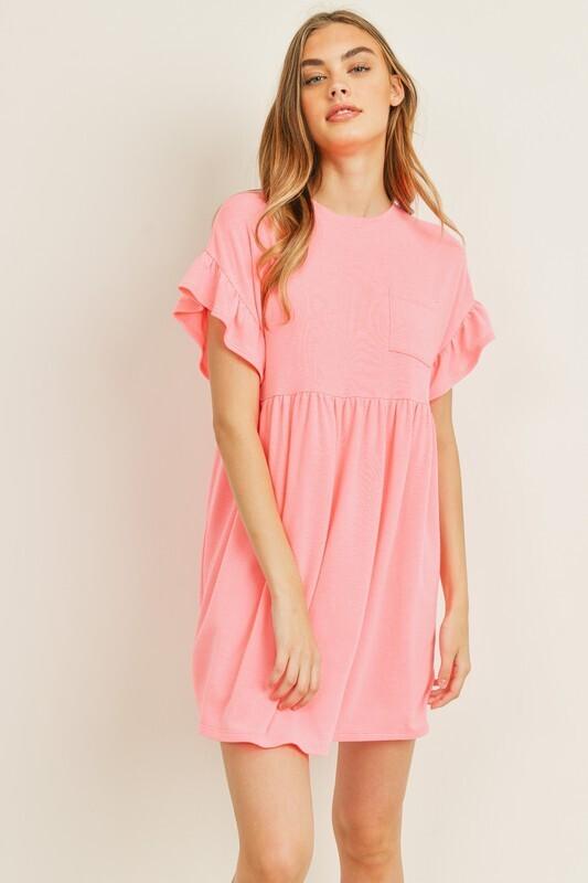 Softy Ruffle Sleeve Dress-Pink