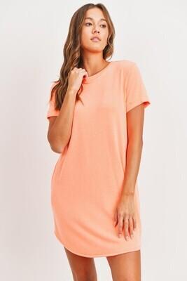 Pocket Tee Dress-Orange