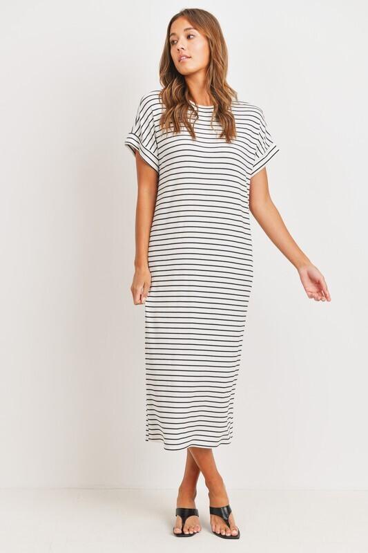 Striped Softy Maxi-Wht
