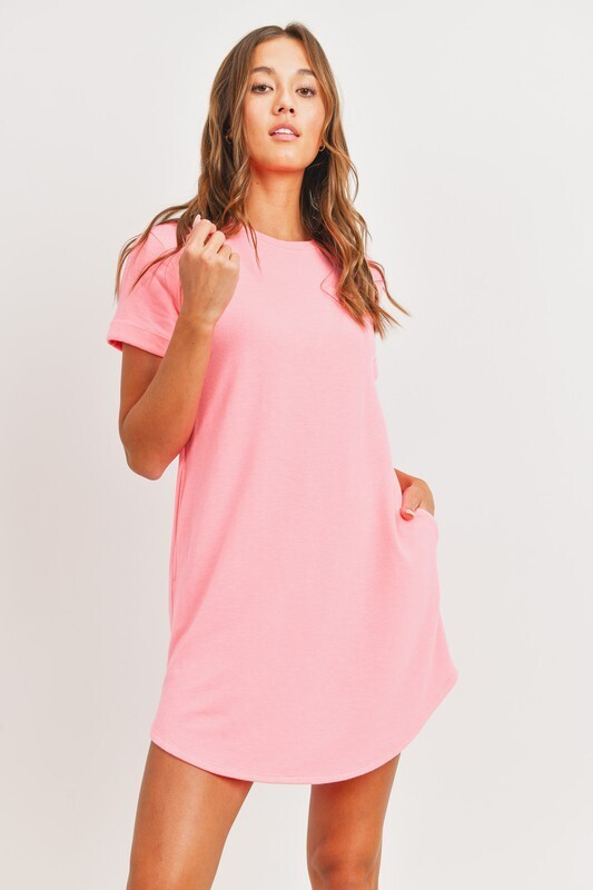Pocket Tee Dress-Pink