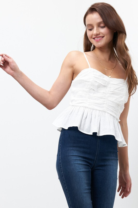 Peplum Rouched Top-Wht