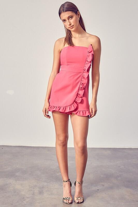 Mia Ruffle Romper-Pink