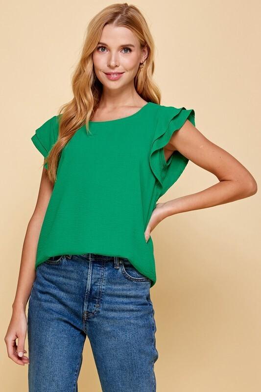 Rylie Ruffle Tee-Green