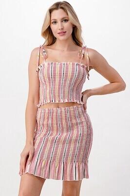 Stripe Smocked Set-Pink