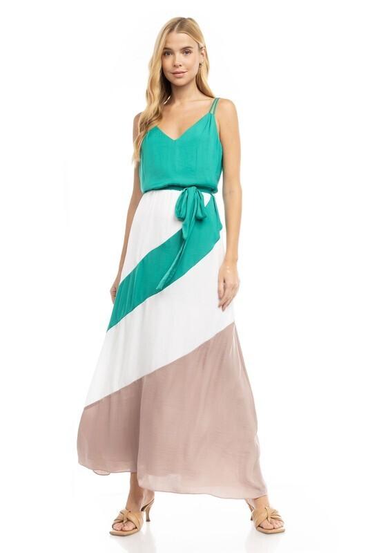 Color Block Maxi Dress-Grn