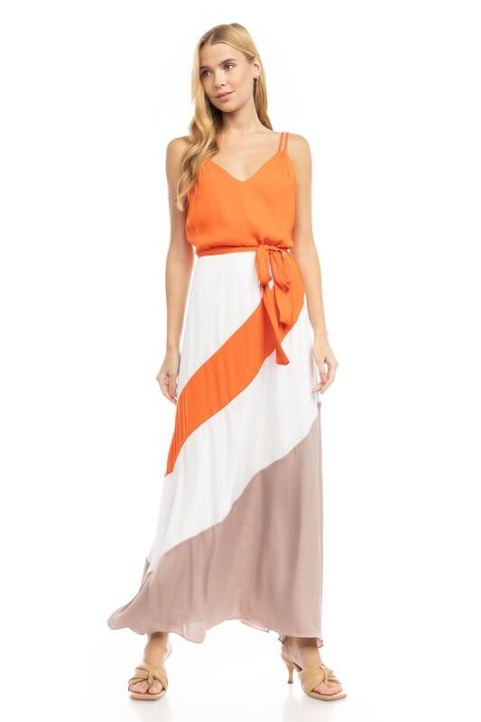 Color Block Maxi Dress-Orange