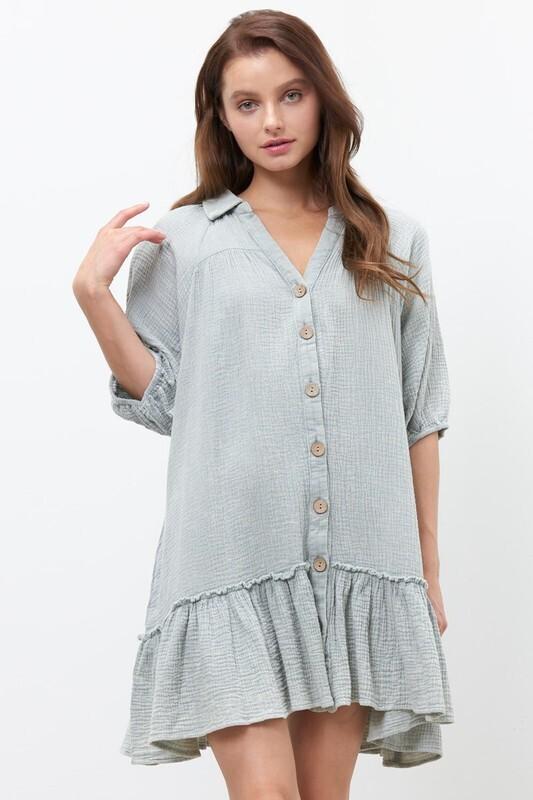 Gauzy Dress-Blue