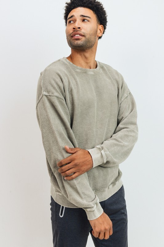 Mineral Wash Pullover-Taupe