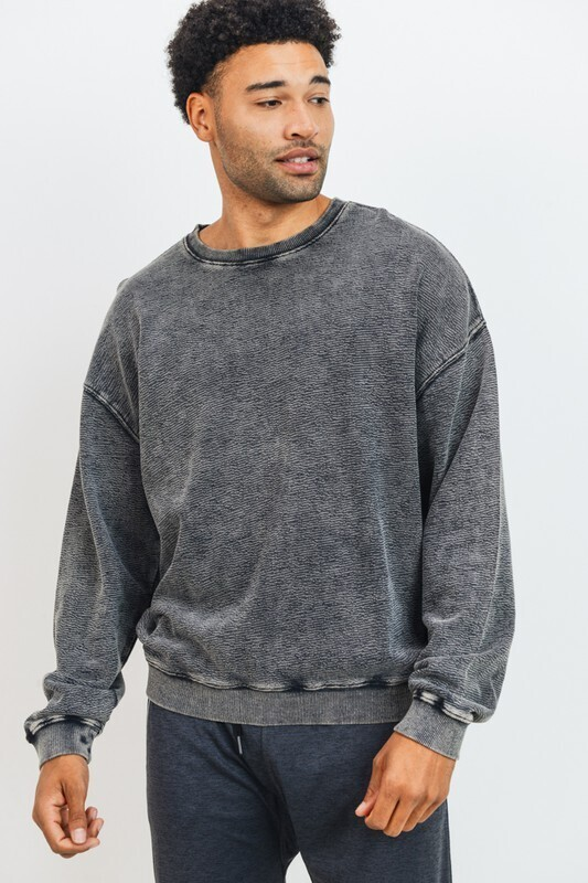 Mineral Wash Pullover-Blk