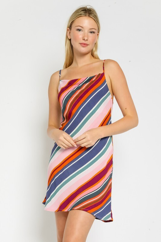 Stella Stripe Cowl Neck Dres