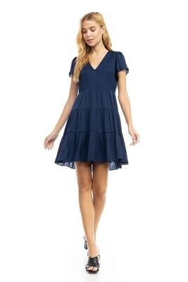 Baily Baby Doll Dress-Navy
