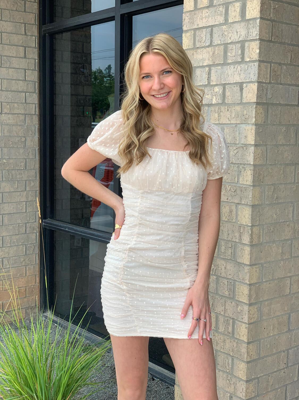 Amanda Mesh Dress-Oyster