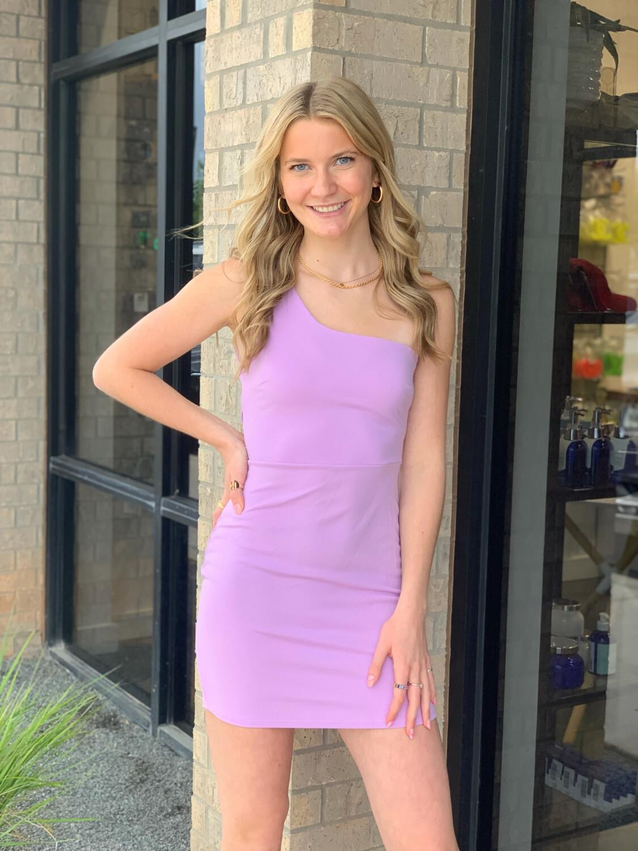 One Shoulder Mini Dress-Lav