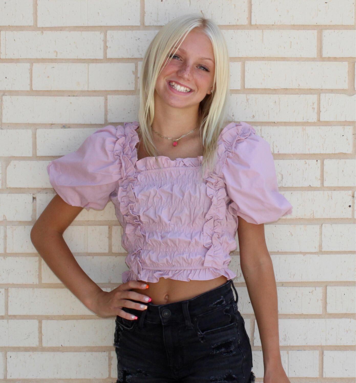 Dakota Smocked Top-Pink