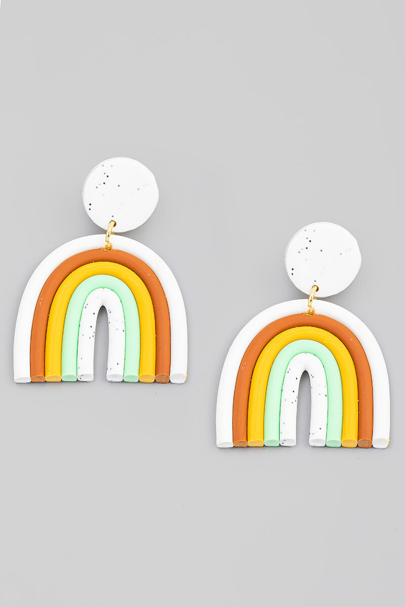 Rainbow Earrings-Wht