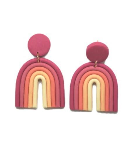 Rainbow Earrings-Pink
