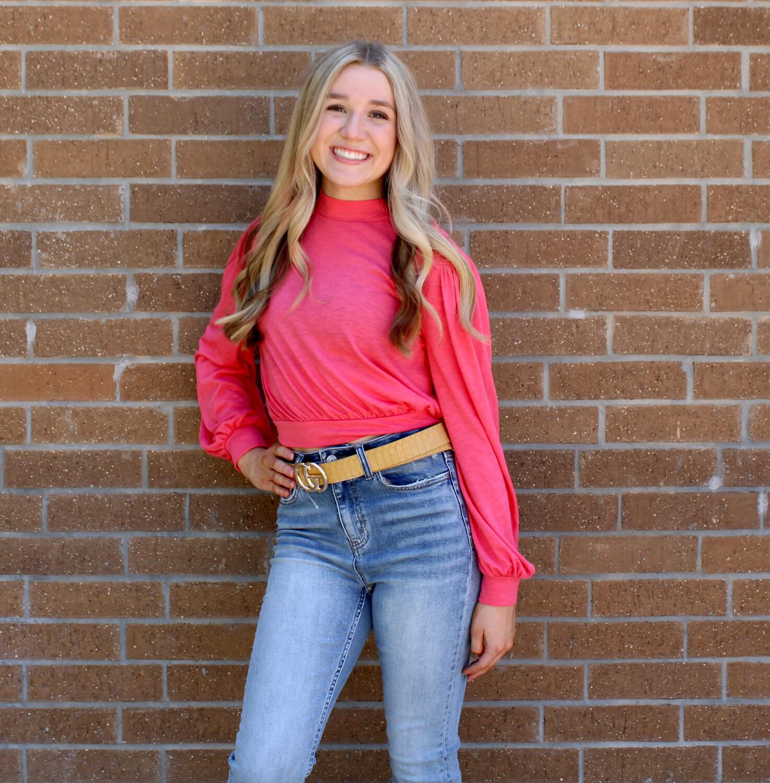 Bishop Sleeve Pullover-Pink