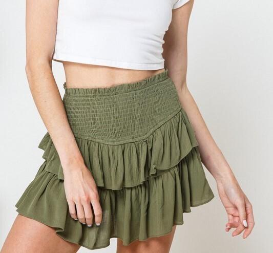 Maddie Ruffle Skirt-Olive