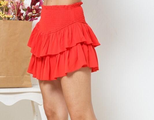 Maddie Ruffle Skirt-Red