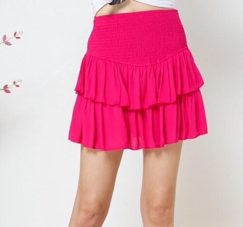Maddie Ruffle Skirt-Hot Pink
