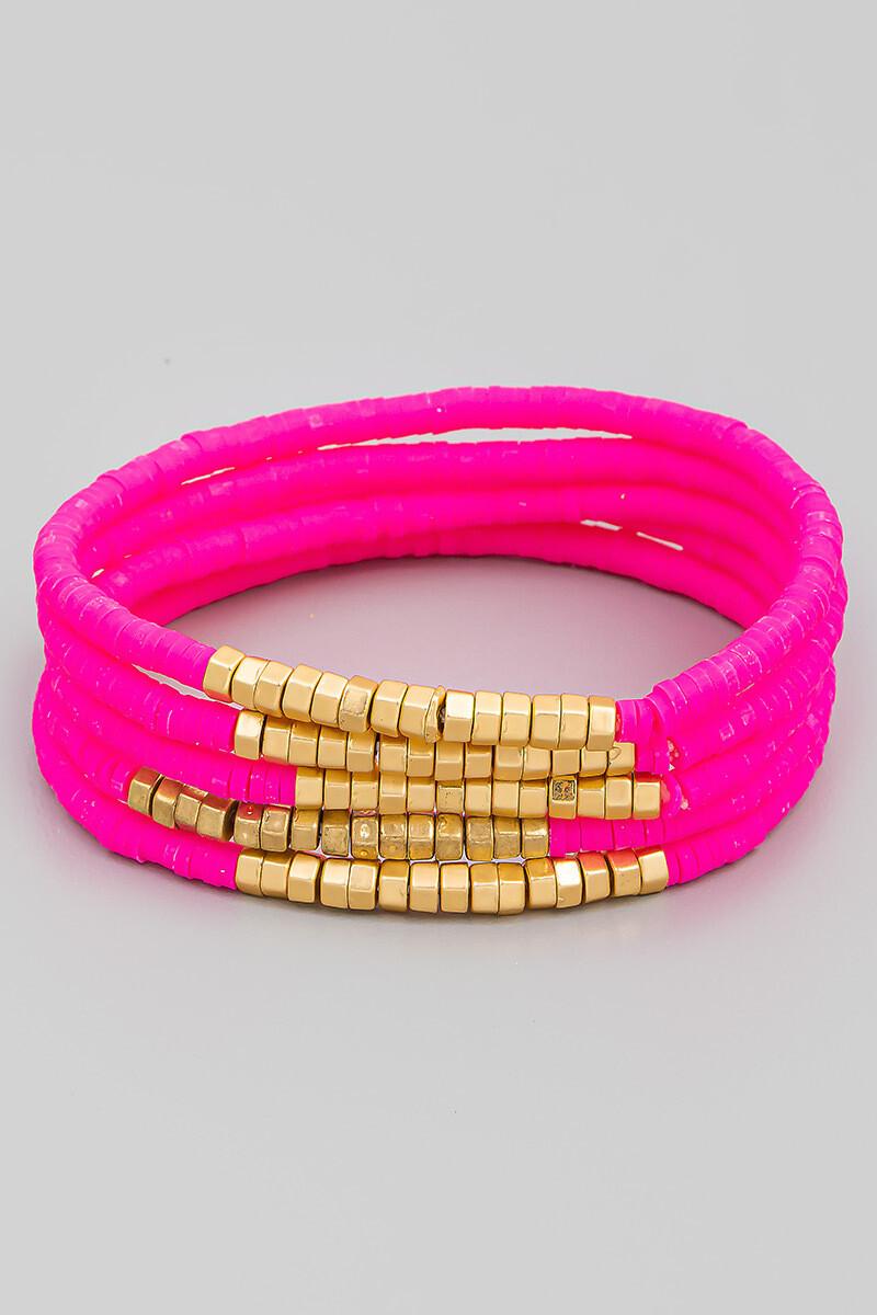 Hpink Disk Bead Bracelet