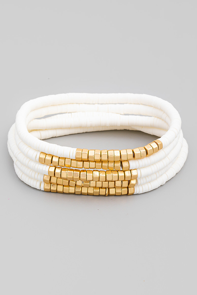 Wht Disk Bead Bracelet