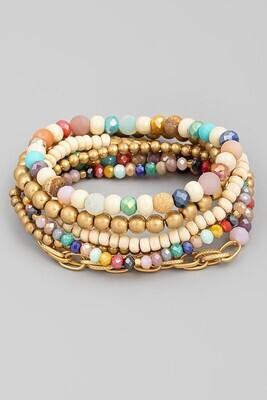 Beaded Bracelet Set-Multi