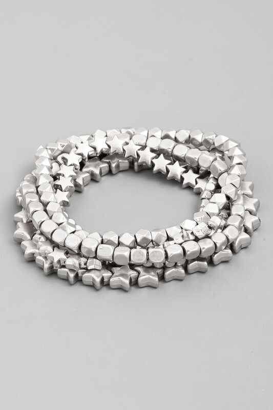 Beaded Star Bracelet-Silver