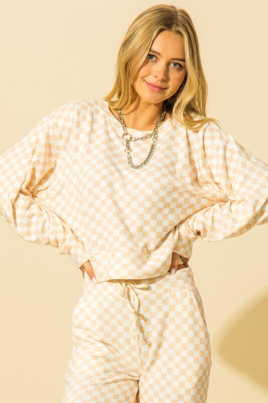 Checkered Pullover-Pink