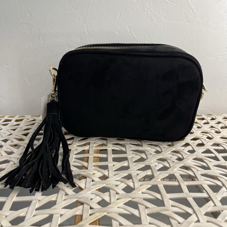 Suede Tassel Bag-Blk