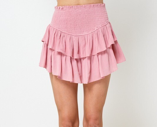 Maddie Ruffle Skirt-Dust Pink