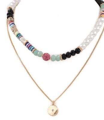 Multi Bead Coin Necklace