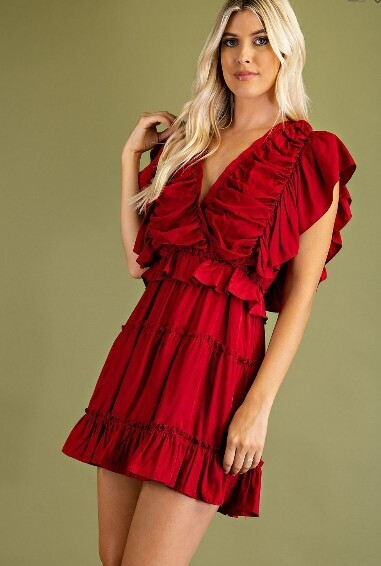 Rouched Crimson Dress