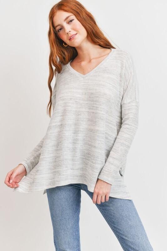 Marble Knit V Neck-Grey