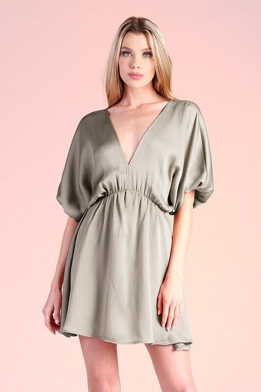 Silky Bubble Sleeve Dress-Olive