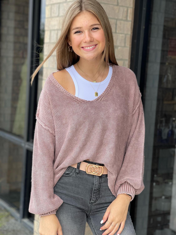 Washed V Neck Sweater-Mauve