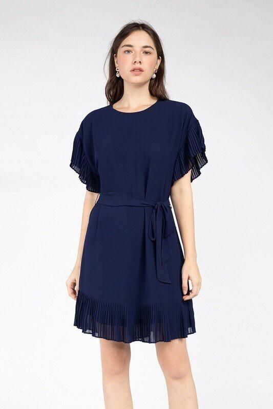 Becca Ruffle Sleeve Dress-Navy