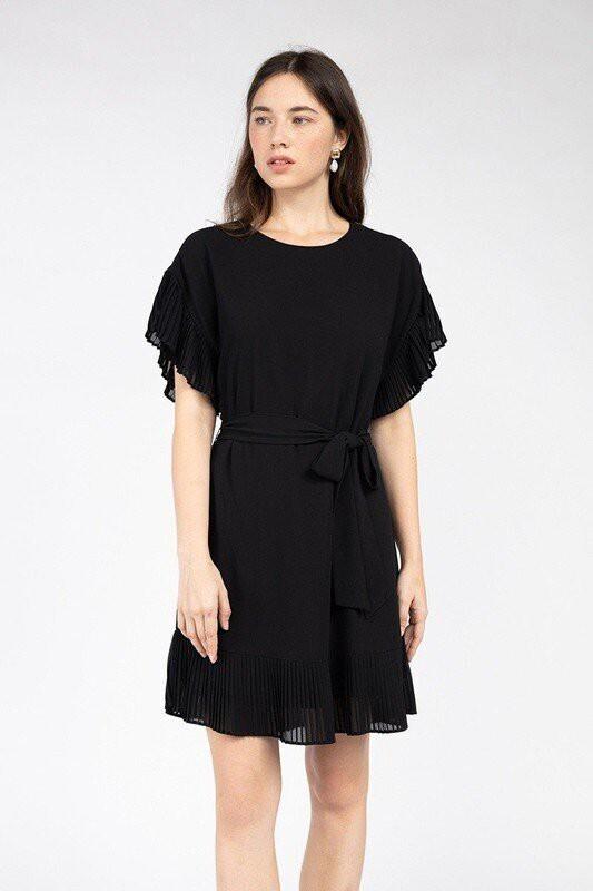 Becca Ruffle Sleeve Dress-Blk