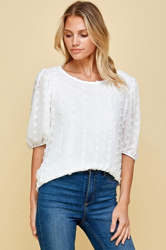 Arielle Dotty Top-White