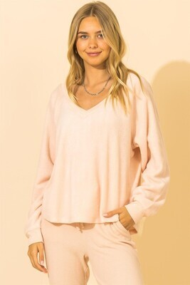 Valerie V Neck-Lt Pink