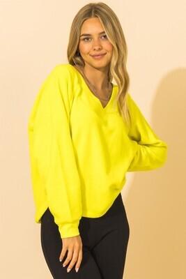 Valerie V Neck-Lime