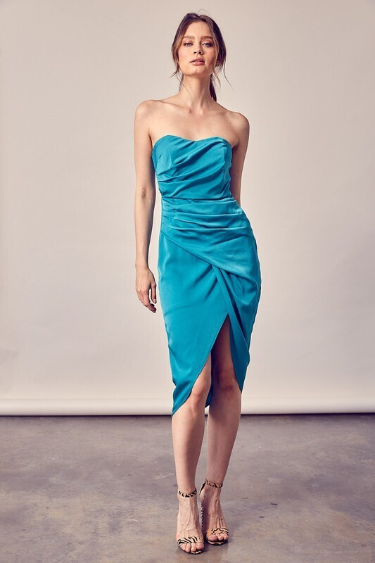 Wrap Tube Dress-Jewel