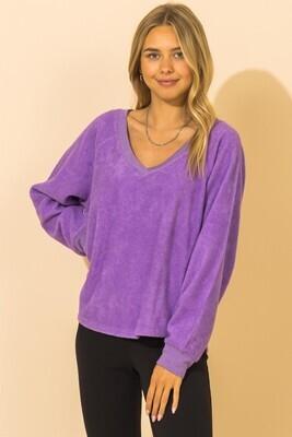 Valerie V Neck-Purple