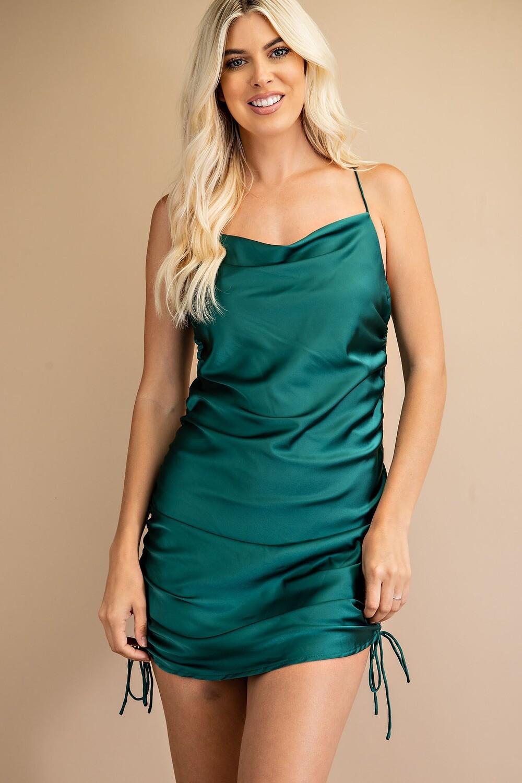 Rachel Rouched Dress-Grn