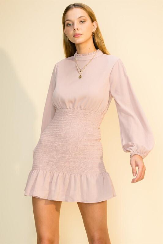 Classy Hi Neck Dress-Lilac
